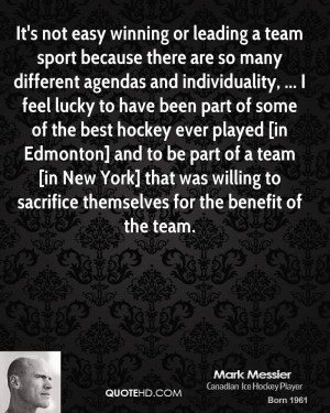 It's not easy winning or leading a team sport because there are so ...
