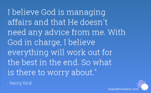 God Is in Charge Quotes