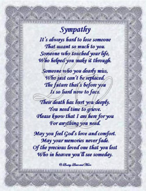 Sympathy Poem For Someone Who Has Lost Loved One May
