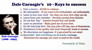 10 - Keys to success by Dale Carnegie (1888 - 1955)