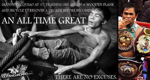 Manny Pacquiao initially used bicycle tires and a wooden plank as his ...