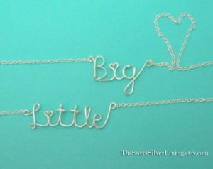 Sorority Set of Two Big and Little Sister Wire Necklaces ...