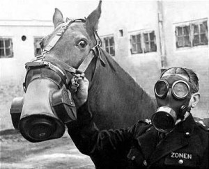During World War I, homemade gas masks were made by peeing on a cloth.