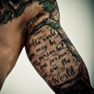 Cool Arm Quote Tattoo Design
