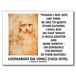 da Vinci Experience Mistress Of Masters Quote Postcard
