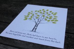 ... shower fingerprint tree, love the colors, maybe not the quote
