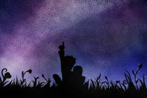 Star gazing together by WolfsMoonrise