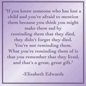 Remembering a child who died inspirational quote