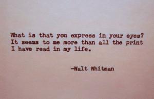 WALT WHITMAN Letterpress Typed Quote Love Poem Walt Whitman Quote Hand ...