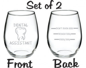 Etched Dental Assistant Glass Set of 2 FREE Personalization