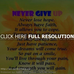 ... give up in life never give up quote never lose give up hope life hope