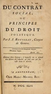 Jean Jacques Rousseau Social Contract Cover of: du contract social,