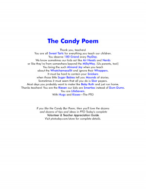 Candy Bar Poems. Appreciation Of Co Workers Quotes. View Original ...