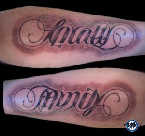 Loyalty/Family Ambigram