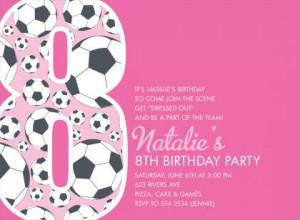 8th Birthday Soccer Pink Birthday Invitations