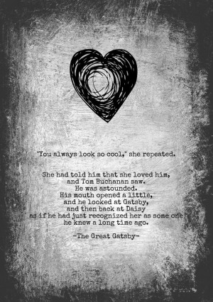 Great Gatsby Art Quote The great gatsby love