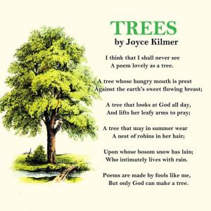 """Joyce Kilmer's poem on """"Trees"""""""