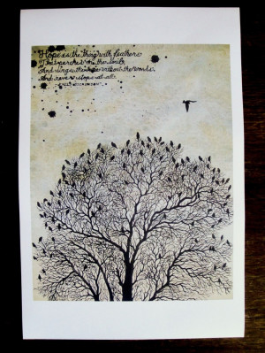 Birds in a Tree with Dickenson's hope quote 18 x 12 print. $20.00, via ...