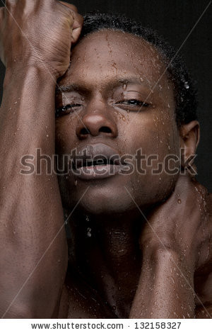 Handsome Bodybuilder African American Doing Exercise Stock Photo