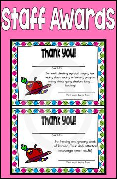 Staff Awards with Matching Gift Tags for Teacher Appreciation! These ...