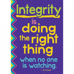 ... and pictures in this Integrity is doing the right thing school poster