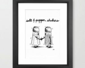 art print salt pepper shake rs illustration 8x10 5x7 salt pepper ...