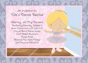 Ballerina Birthday Dance Recital Invitation Digital File Printable