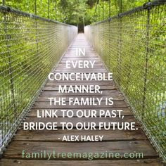 ... , the family is link to our past and bridge to our future. Alex Haley