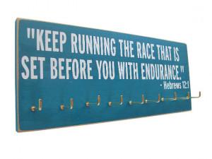 Running Medals display Rack / inspirational bible verse