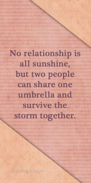 ... but two people can share one umbrella and survive the storm together