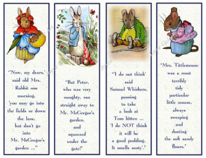 Printable Bookmarks, Beatrix Potter Characters with Quotes, Original ...