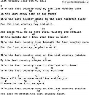 Download Last Country Song-Tom T Hall lyrics and chords as PDF file ...