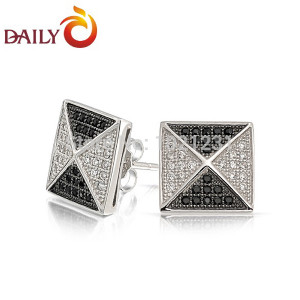 2015-New-Men-Earrings-Square-Pyramid-Design-Micropave-CZ-Diamond-Black ...