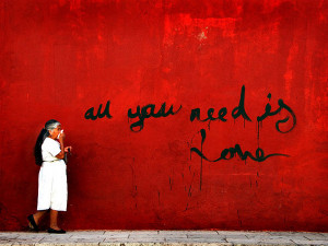 ... bold black letters in this red wall graffiti style love quote picture
