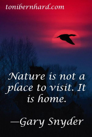 The poet Gary Snyder.....Nature makes me feel close to God. It is home ...