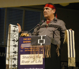 Jake Edwards, Onondaga Nation Council of Chiefs, holds the Canandaigua ...