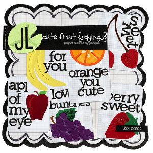 Cute Fruit Sayings 3x4 cards by Jacque