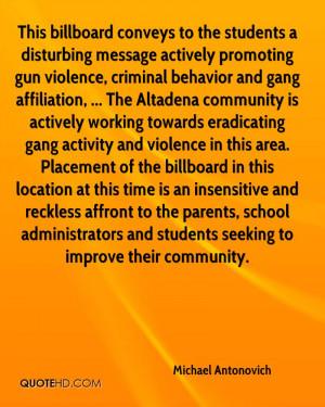 disturbing message actively promoting gun violence, criminal behavior ...