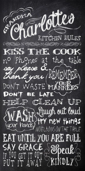 ... Chalkboard Kitchen Rules - Subway Sign Art Print - Gift for Mom or