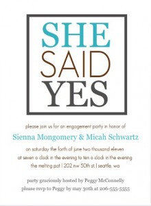 She Said Yes Engagement Party Invitation wording