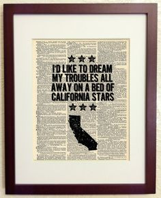 Wilco Quote About California - Art Print on Vintage Antique Dictionary ...