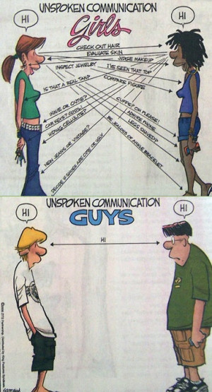 Very Funny Girl Guy Unspoken Communication Cartoon Picture Image