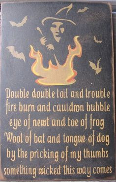 sign: a witch, her cauldron and her bats combined with a quote ...