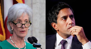 Kathleen Sebelius (left) and Sajay Gupta (right) are shown in this ...
