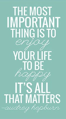 Be Happy Audrey Hepburn Quote Print - 8x10 - Soft Blue Green - White ...