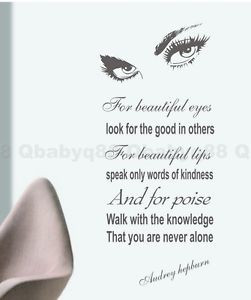 For-Beautiful-Eyes-Audrey-Hepburn-Wall-Quote-decals-sticker-home-decor ...