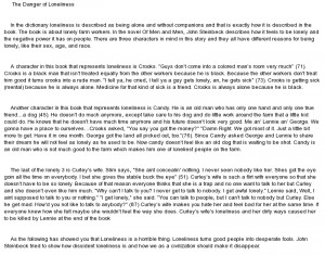 essay on Loneliness OF mice and men A++++