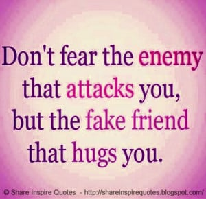 Don't fear the enemy who attacks you, But the fake friend who hugs you