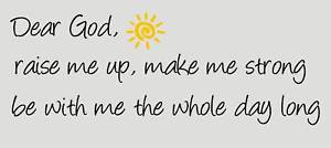 Details about DEAR GOD RAISE ME UP Prayer Wall Quote Decal Kids Vinyl