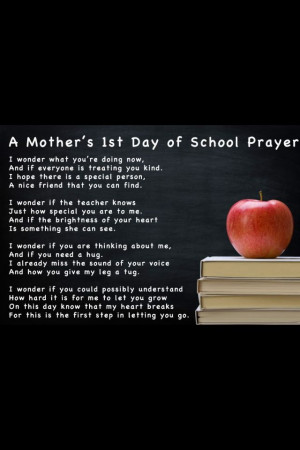 First day of school poem for mom
